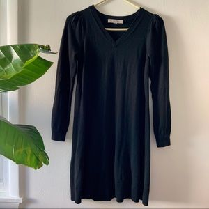 LOFT Black Sweater Dress with cuff button sleeves